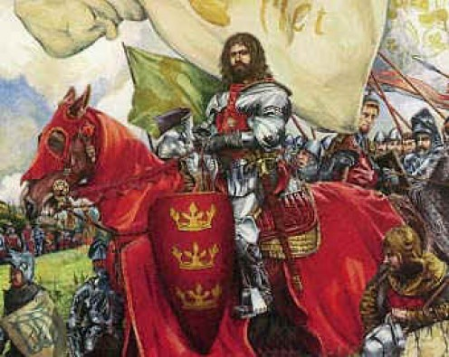 King Arthur leading the Britons into battle against the Saxons in 410AD