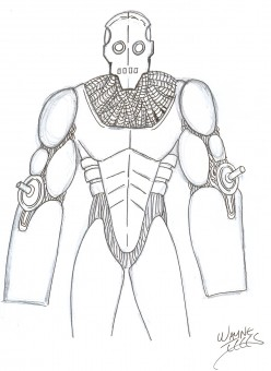 Learn how to draw a robot by Wayne Tully, video drawing tutorial.