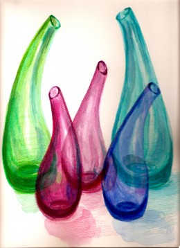 Hand Blown Colored Glass Bottles a Watercolor