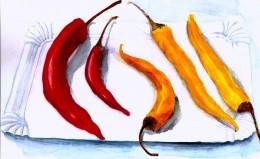 Chili Pepper Balancing Act a Watercolor