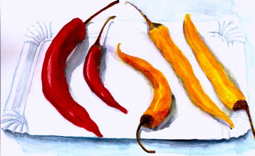 Chili Pepper Balancing Act a Watercolor