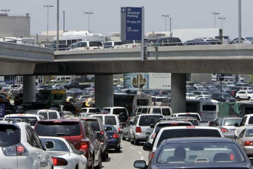 Traffic around LAX and to the 405 Freeway and down Century Blvd.