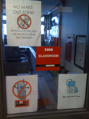 Like PDA (public display of affection) and mp3's, cell phones are not welcomed in the classroom.