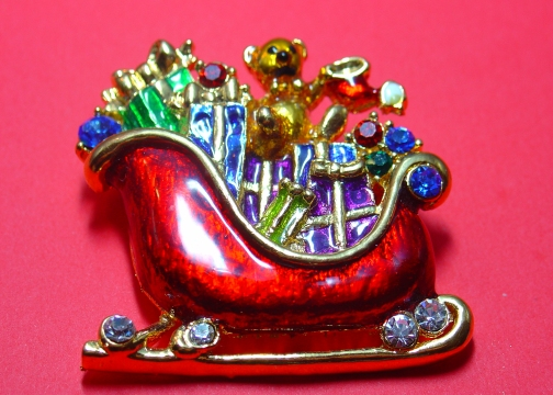 Christopher Radko Santa Sleigh Pin