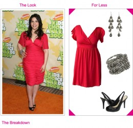 America Ferrera wearing a red dress with a plunging V-neckline