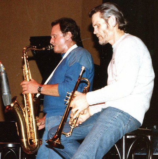 Chet Baker performing with Stan Getz in 1983.  Photo by Gier, courtesay photographer & Wikimedia Commons.