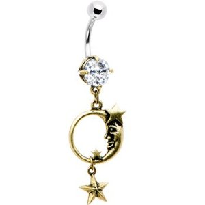 gold-plated belly button ring