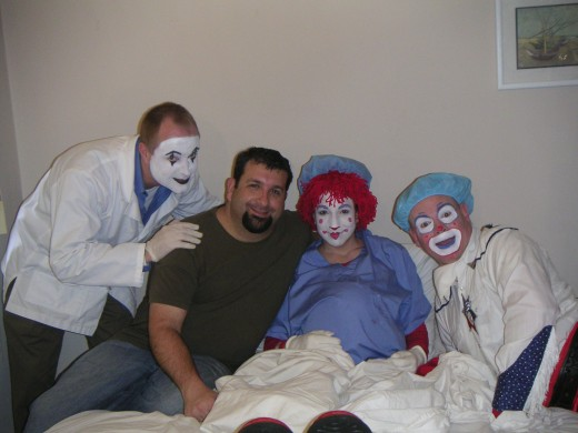 Ross Poses With Clowns