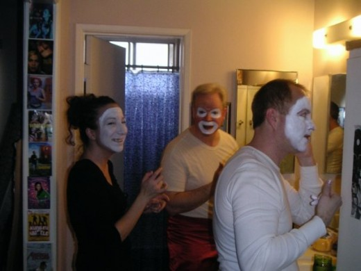 Sean also has a great background of working as a professional clown and the knowledge of applying clown make-up. It came in handy.