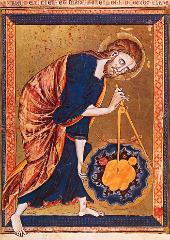 """God the Geometer,"" 13th century manuscript illustration"