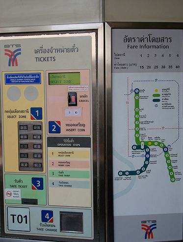 Automated ticket machine - Only accepts 5 baht and 10 baht coins