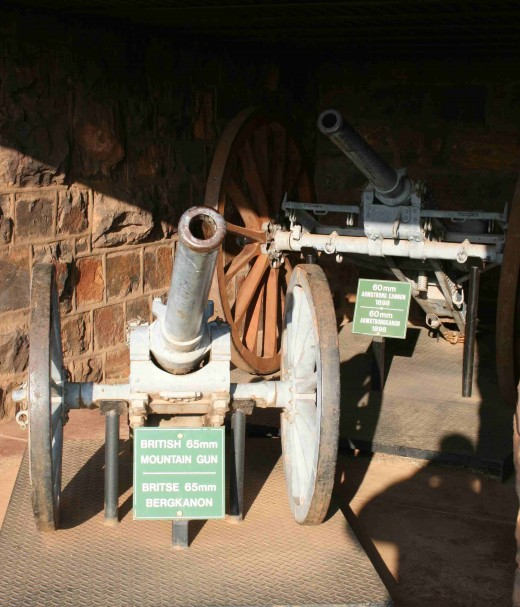British 65mm mountain gun (front) and a 60 mm Armstrong cannon behind it.