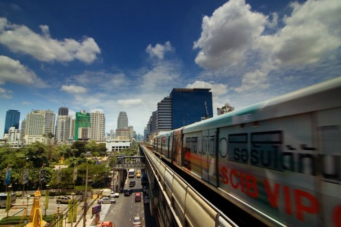 Sky Train running on elevated tracks on Silom Line