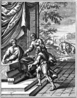 """Well Done Thou Good and Faithful Servants."" Parable of the Talents - shown in a 1712 woodcut."