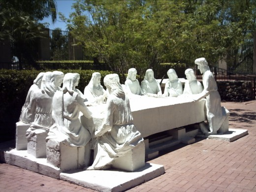 Sculpture of Christ with his Apostles at the Last Supper in Tucson's Garden of Gethsemane Felix Lucero Park.