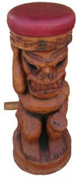 Carved Tiki Bar Stools from Coconut Trunks