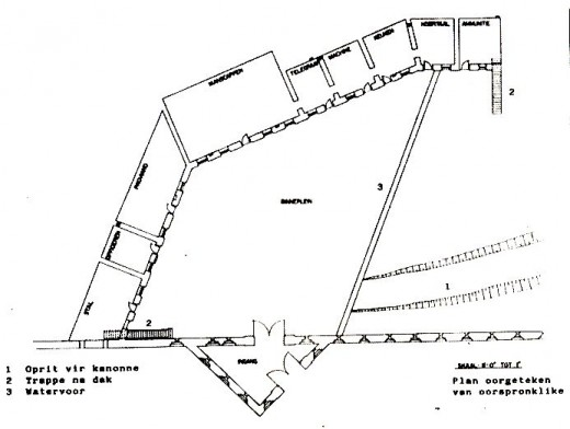 "Plan of Fort Schanskop (SANDF Museum Serivces). The three German-designed forts all have basically the same shape. Fort Daspoortrand is quite different.  Image from ""The Military Fortifications of Pretoria 1880 - 1902"" by Anton C. Van Vollenhoven"