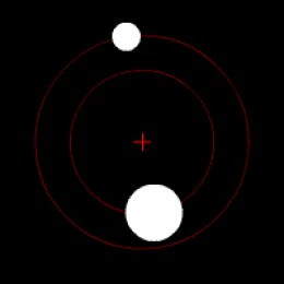 Image 1 Earth/Moon type Orbit with barycenter