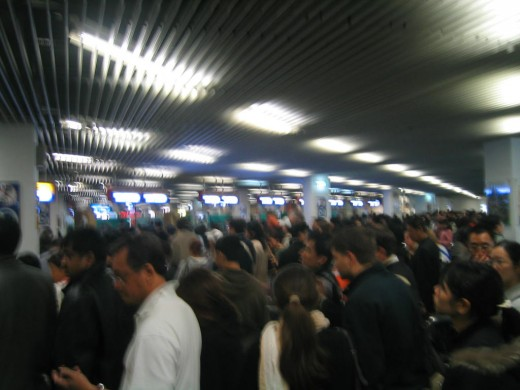 The crowded ferry terminal