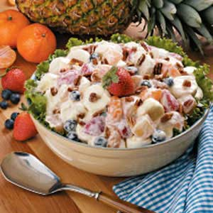 This is a fruit salad you make 24 hours ahead of time which frees up your day when you are having company,