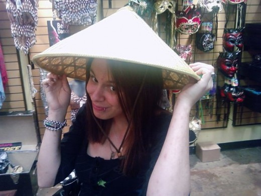 CALIFORNIA ATTITUDE, TENNESEE ACCENT, AND ASIAN HEADGEAR. MY DAUGHTER HAS IT ALL. LOL!!!!!
