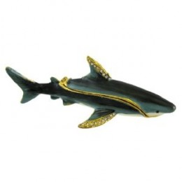 Bejeweled Great White Shark Rhinestone Trinket Box