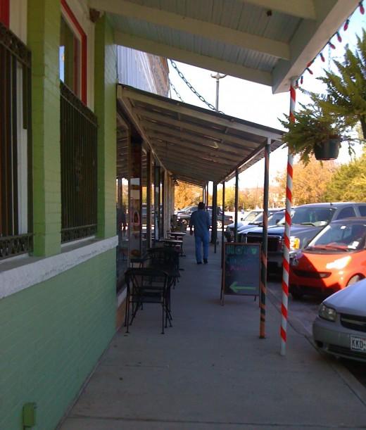 A sidewalk view.