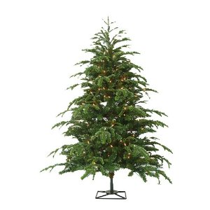 Barcana Star Fir PE/PVC Ready-Trim Christmas Tree with Clear Mini Lights