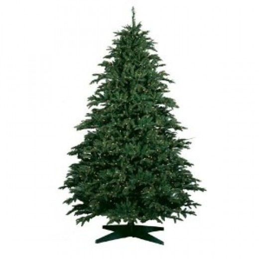 Barcana 9-Foot Alaskan Deluxe Fir PE/PVC Ready-Trim Christmas Tree with 1350 Clear Mini Lights