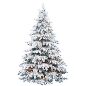 Barcana 8-Foot Prestige Flocked Silver Tip PE/PVC Ready-Trim Christmas Tree with 700 Clear Mini Lights
