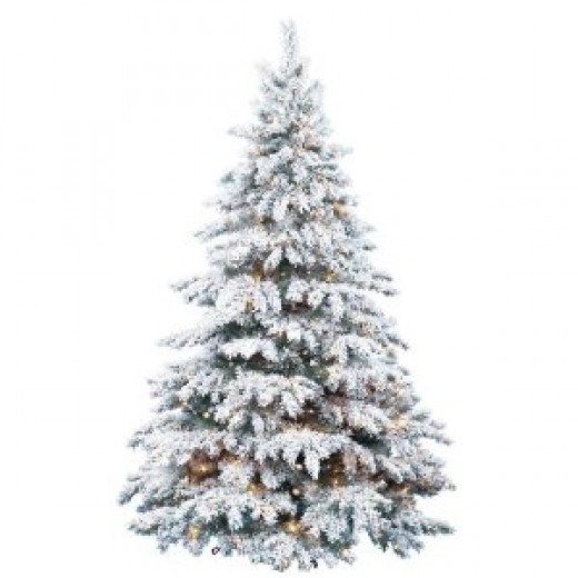 Barcana 8-Foot Prestige Flocked Silver Tip PE/PVC Ready-Trim Christmas Tree with 700 Clear Mini Lights