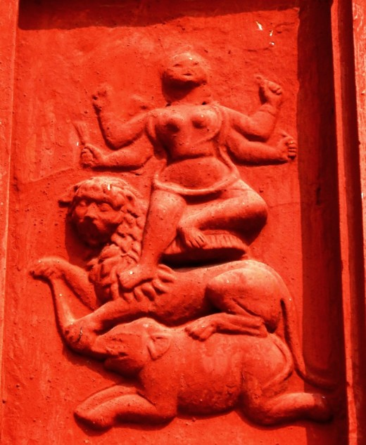Terracotta art in Ananda Bhairabi temple (?Goddess Jagatdhatri).