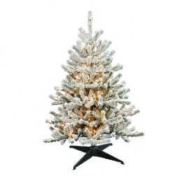 Barcana 4-Foot Flocked Tabletop Christmas Tree with 100 Clear Mini Lights