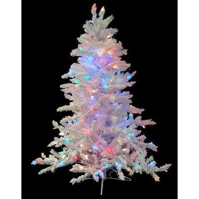 4.5' Pre-Lit Flocked White Spruce Artificial Christmas Tree - Multi LED Lights