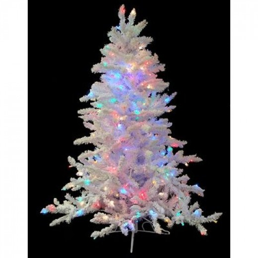 4.5' Pre-Lit Flocked White Spruce Artificial Christmas Tree - Multi LED Lights