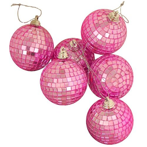 """Pack of 6 Bubblegum Pink Mirrored Glass Disco Ball Christmas Ornaments 2.75"""""""