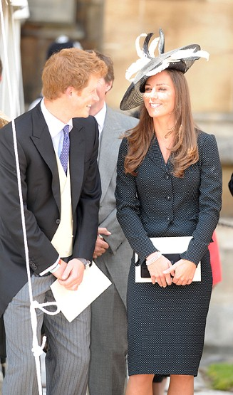 Kate laughs with future brother-in-law Prince Harry at the Service for the Order of the Garter.