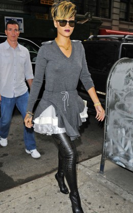 Here is Rhianna's rocking a pair of Thigh High's in Black Leather.