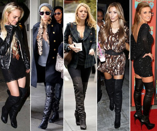 Here's Kim again  amongst a group of other celeb thigh high rockers.