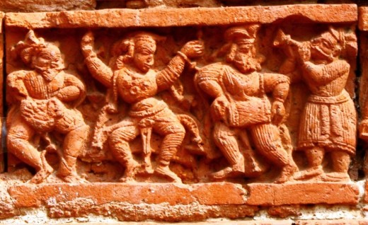Terracotta dancer & drum player, Ramchandra temple