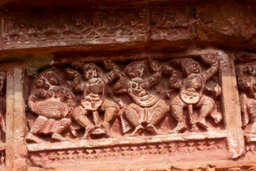 Dancers in beautiful postures, Terracotta at Ramchandra temple