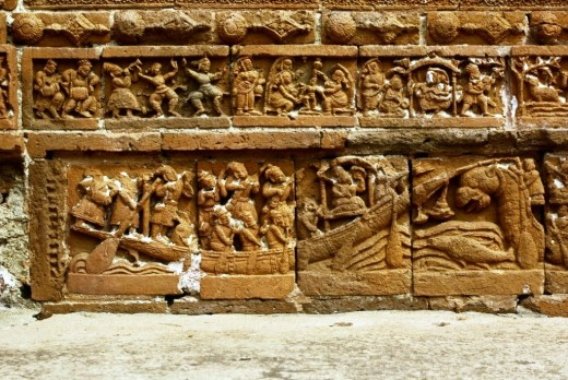 Boat ride (below) & social life (above) -- terracotta work at Ramchandra temple