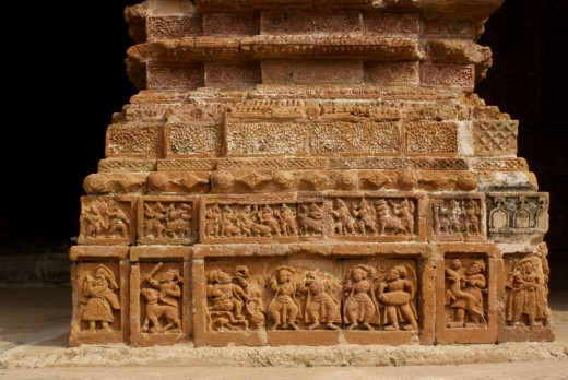 Pillar decorated with exquisite terracotta work, Ramchandra temple