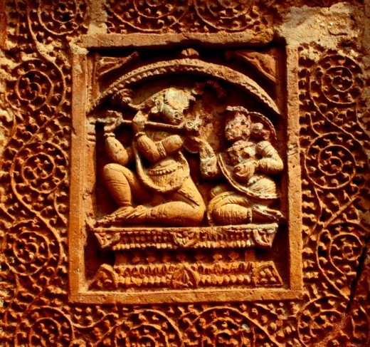 Krishna with Radha, terracotta work at Ramchandra temple 2