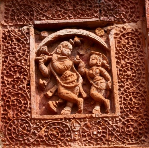 Krishna Leela in terracotta ,Ramchandra temple