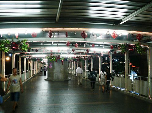 Skywalk decorated during Christmas time