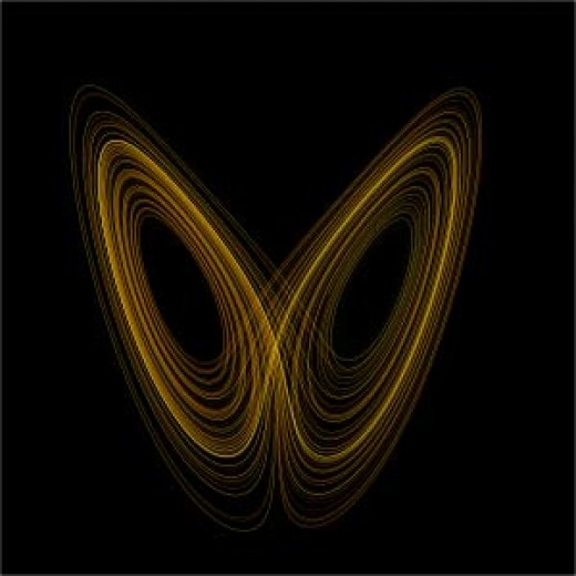 The classic non-linear butterfly pattern is a combination of chaos theory and fractal calculation. Planetary orbits also display complex and chaotic periodicity.