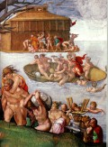 A medieval representation of the Biblical flood.