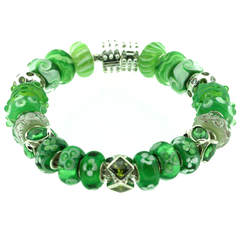 One example of a European-style bracelet owned by someone who is obviously loves the color green. NOTE: This is not a Pandora. They copyright all their photos and go into a rigor if someone uses one on the Internet without permission.