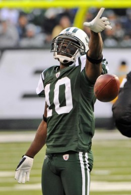 New York Jets wide receiver Santonio Holmes (10) reacts after making a catch during the third quarter of an NFL football game against the Houston Texans at New Meadowlands Stadium Sunday, Nov. 21, 2010, in East Rutherford, N.J. (AP Photo/Bill Kostrou